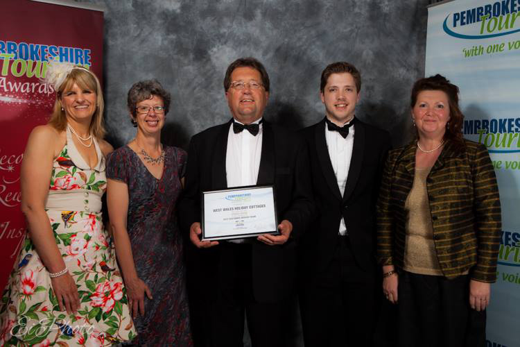 West Wales Holiday Cottages team with bronze award for Best Customer Service Team in 2014 Pembrokeshire Tourism Awards