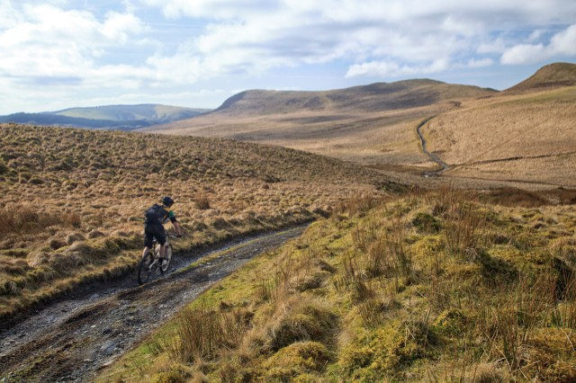 Mountain bike on a trail in the Cambrian Mountains