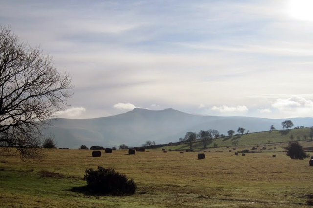 Distant view of Pen y Fan in the Brecon Beacons