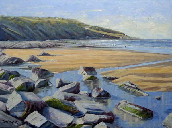 Painting of rocks and sand at Poppit Beach by Chris Chalk