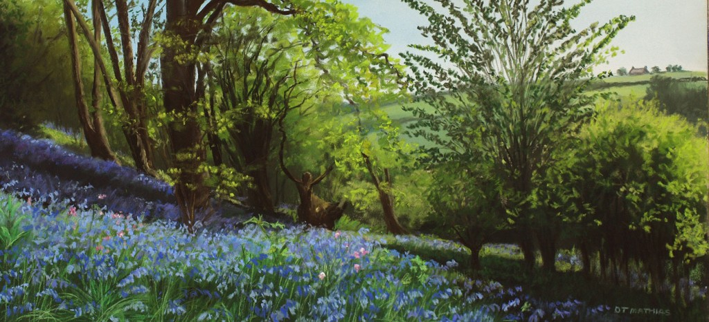 Painting of bluebells with trees behind by Diane Matthias