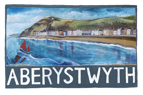 Painting of Aberystwyth beach by Lizzie Spikes of Driftwood Designs