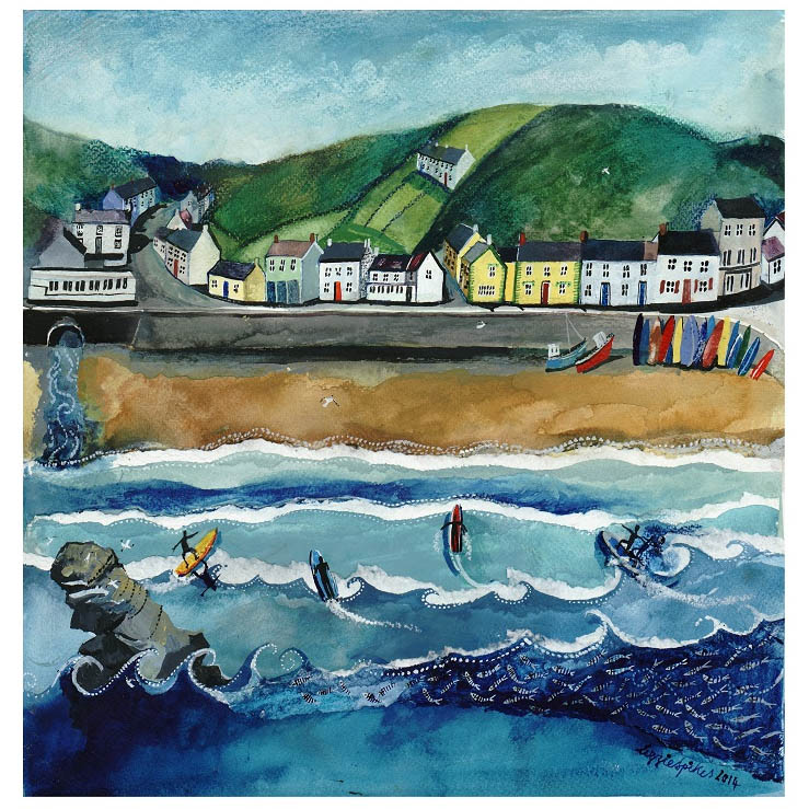 Painting of Llangrannog beach by Lizzie Spikes of Driftwood Designs