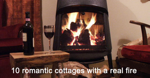 romantic fire in woodburner