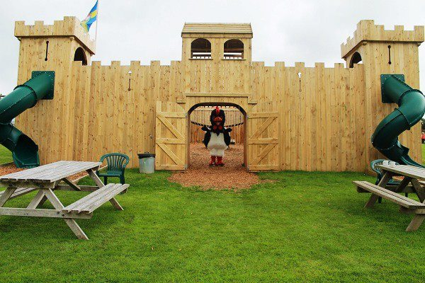 Wooden play castle at Clerkenhill Adventure Farm