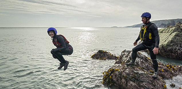 Jumping in the sea when coasteering