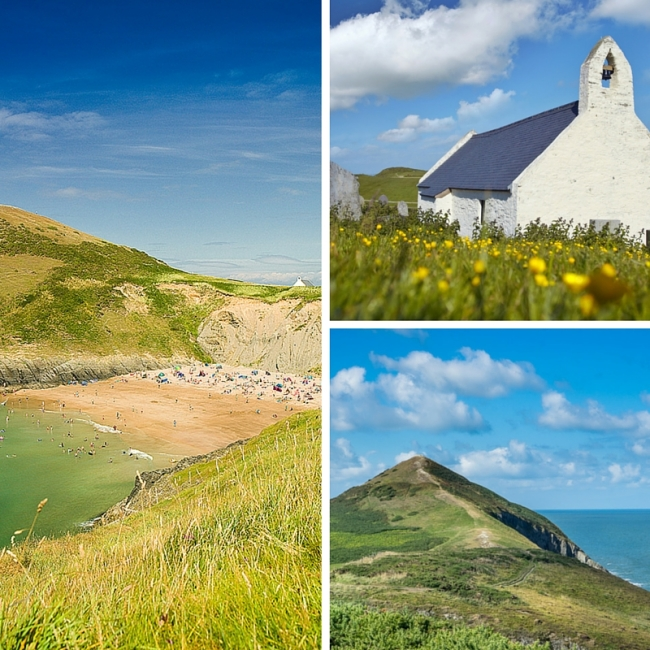 Three images of Mwnt: the beach, the chapel and the hill, Mwnt itself
