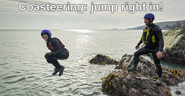 Jumping into the sea when coasteering