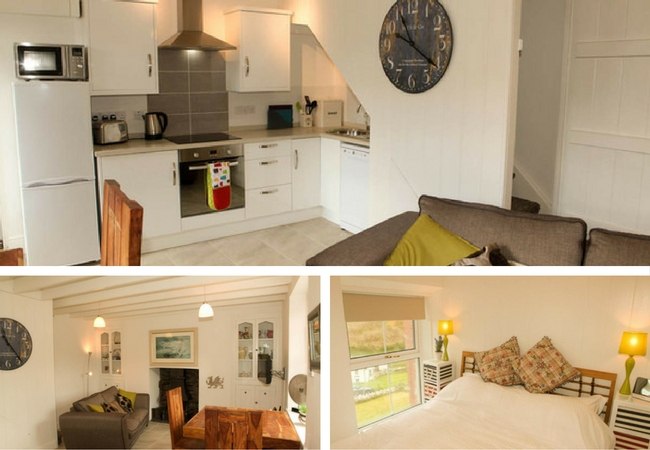 3 images together, one of Brig-ydon's kitchen one of the living room and another of a double bed in a white bedroom