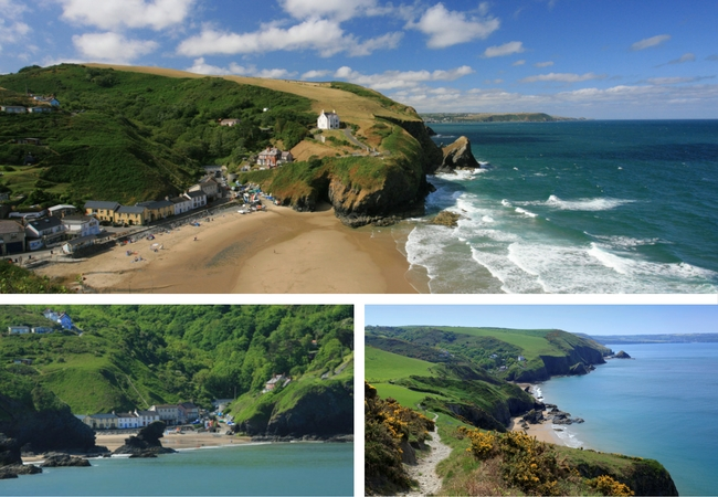 Three images of Llangrannog, West Wales