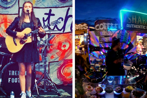 two images: one of a girl singling live on stage with an acoustic guitar and another of a catering area at the Big Cwtch Festival
