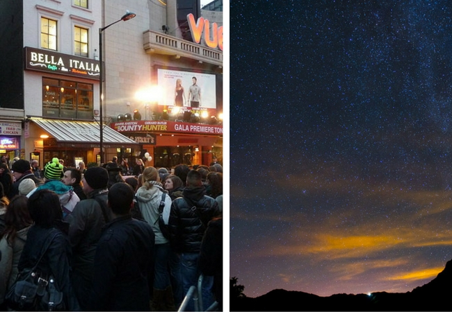 Crowds in Leicester square on the left and a clear evening perfect for star gazing in West Wales on the left