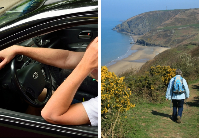 annoyed driver on the left, a woman walking the coast path along Cardigan Bay on the left