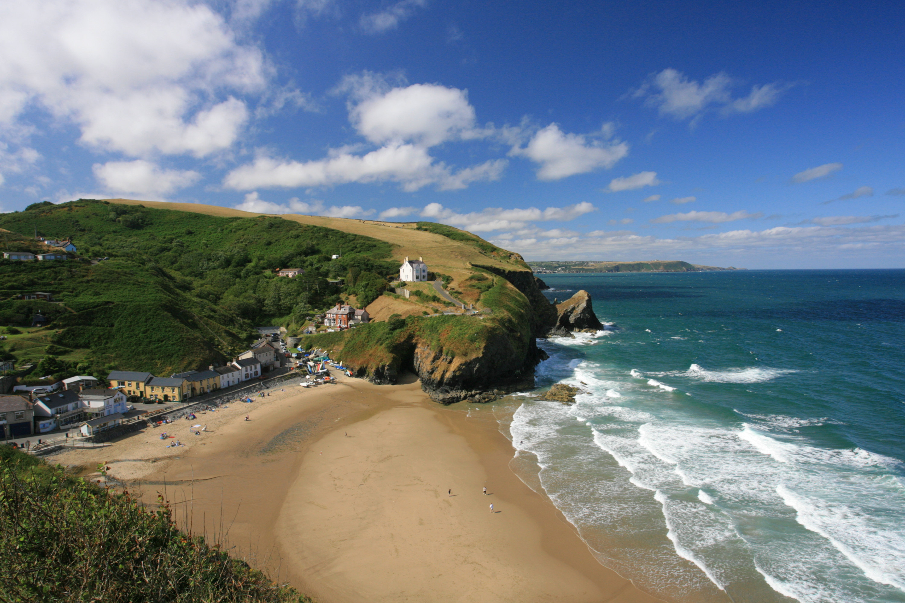 Llangrannog West Wales, land to the left and the sea on the right!