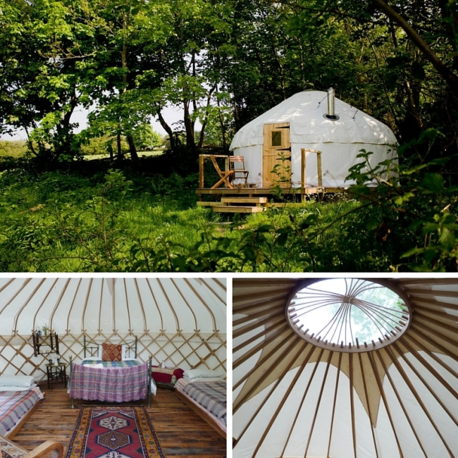 Yurt in field plus image of interior and view through the roof