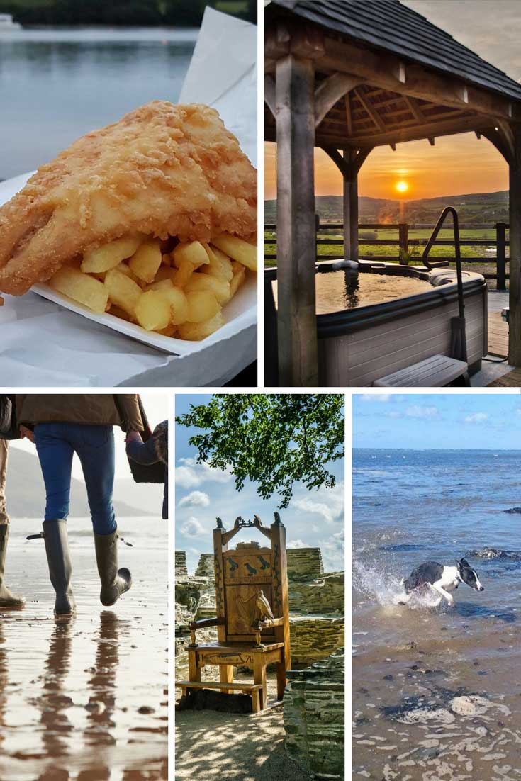 a collage of images fish and chips hot tub walking on the beach
