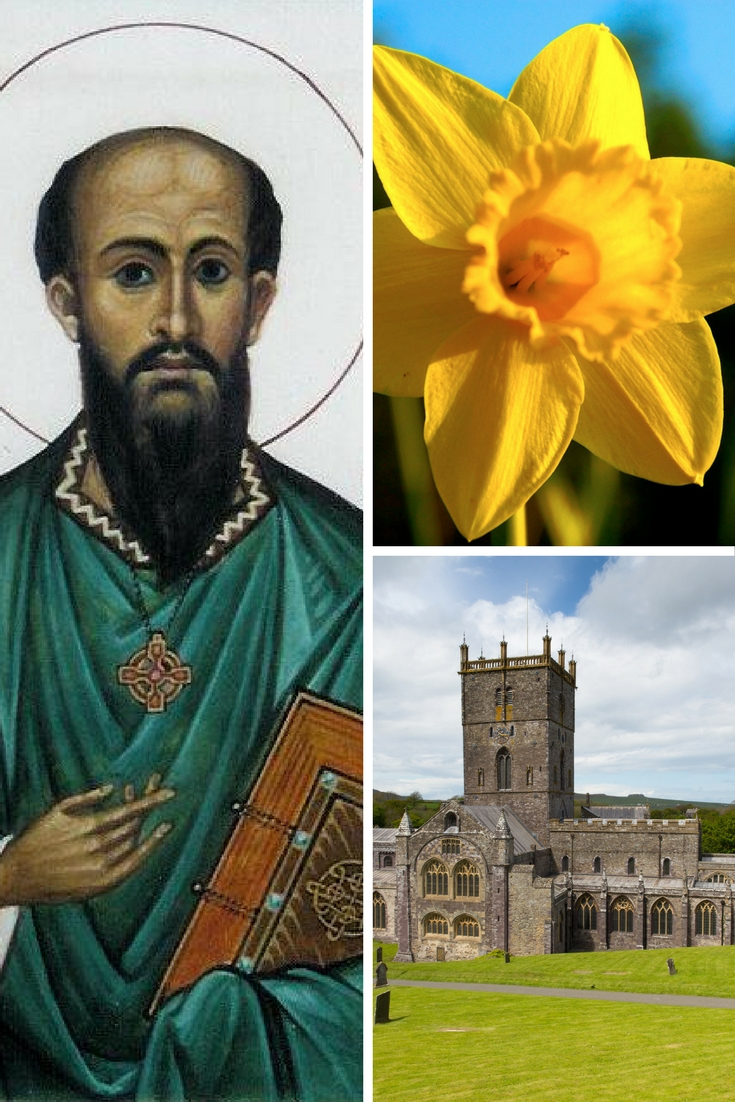A collage of St David, a daffodil and St David's Cathedral