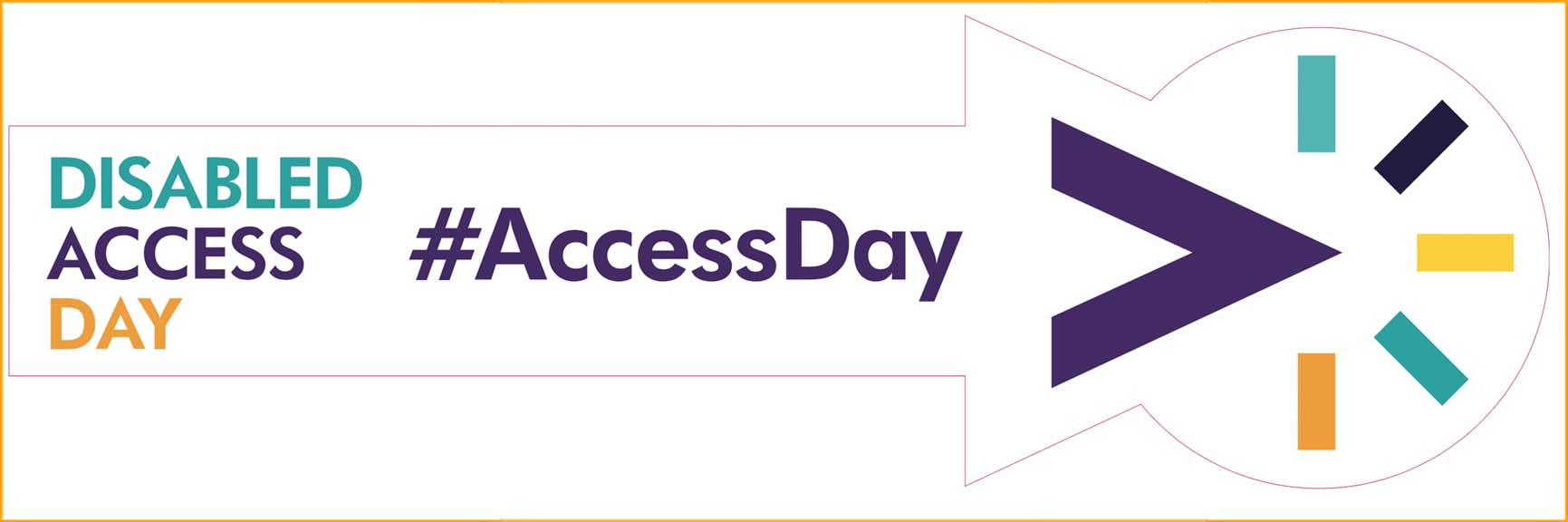 Disabled Access Day logo foe 2017 event with #AccessDay within an arrow pointing to the right