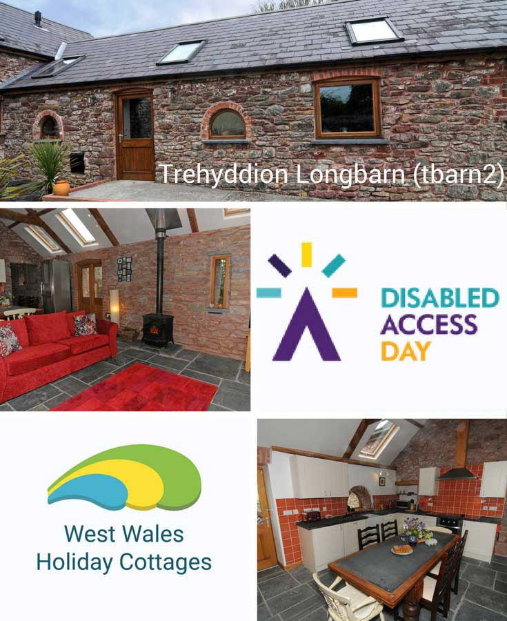 Trehyddion Longbarn easy access holoday cottage in West Wales with stone exterior and the property name overlaid, a photo of the living room with a red sofa and wood burner with exposed brick walls., a character kitchen with dining table and chairs, Disabled Access Day logo and West Wales Holiday Cottages logo