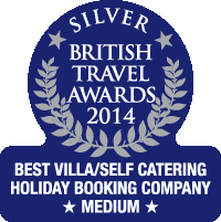 British Travel Awards 2014 Silver Award - Best Villa/Self Catering Holiday Booking Company Medium