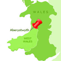 map showing Aberystwyth on Cardigan Bay