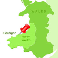 Map of Cardigan in Wales