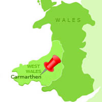 Map showing Carmarthen in West Wales
