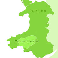 Map showing Carmarthenshire in Wales
