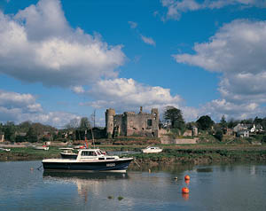 Laugharne Castle and boats