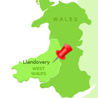 map showing Llandovery in Carmarthenshire Heart