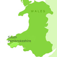 Map of South Pembrokeshire in Wales