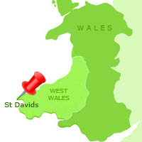 Map of St Davids in Wales